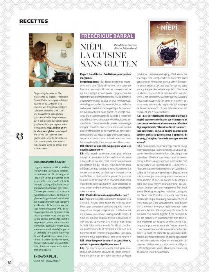 INTERVIEW DE FRÉDÉRIQUE DANS LE MAGAZINE REGARD BOUDDHISTE